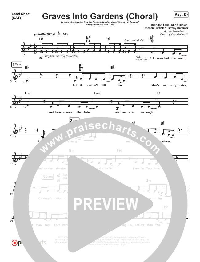 Graves Into Gardens (Choral) Piano/Vocal (SATB) (PraiseCharts Choral / Elevation Worship / Brandon Lake)
