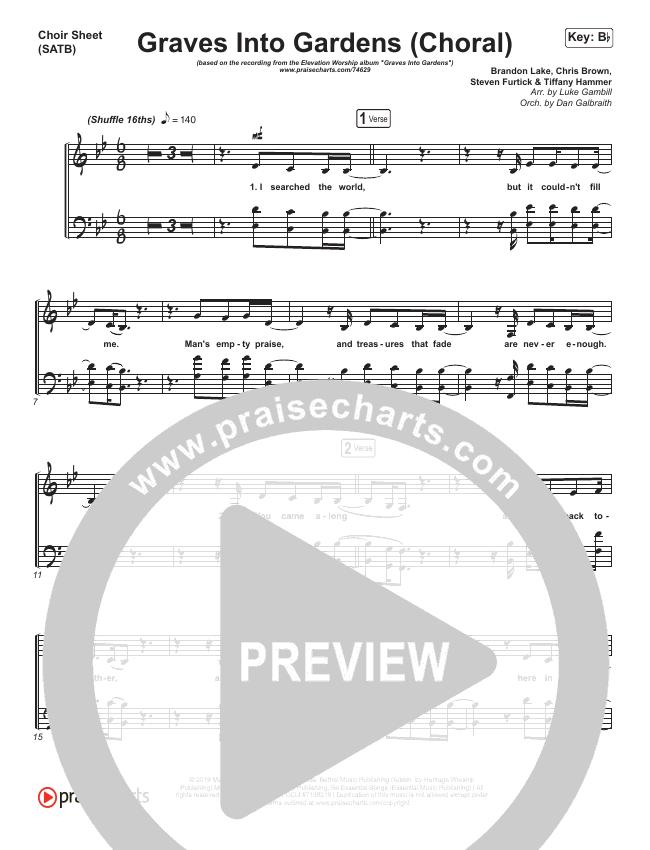 Graves Into Gardens (Choral) Choir Sheet (SATB) (PraiseCharts Choral / Elevation Worship / Brandon Lake)