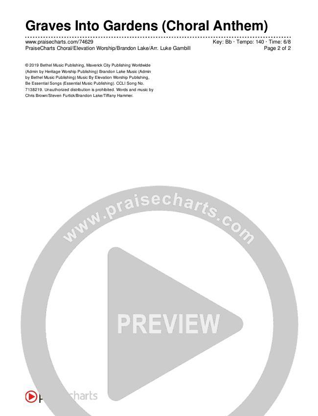 Graves Into Gardens (Choral) Chords & Lyrics (PraiseCharts Choral / Elevation Worship / Brandon Lake)