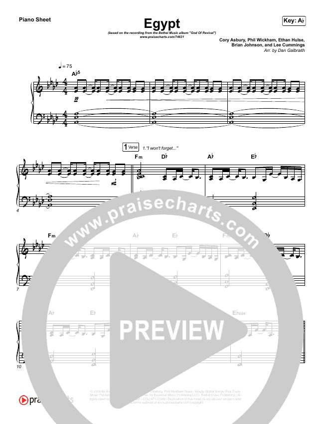 Egypt Piano Sheet (Bethel Music / Cory Asbury)