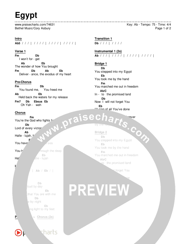 Egypt Chords & Lyrics (Bethel Music / Cory Asbury)