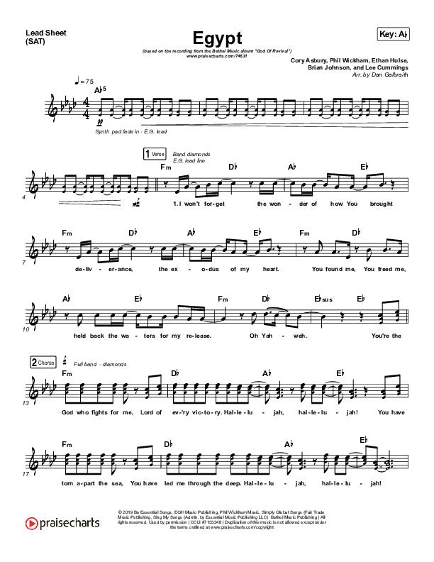 Egypt Lead Sheet (SAT) (Bethel Music / Cory Asbury)