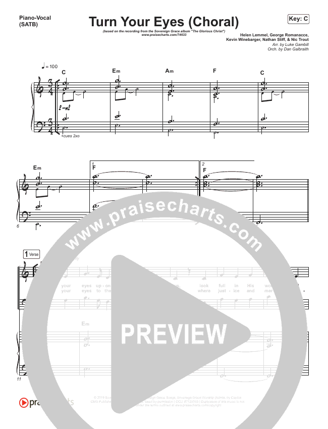 Turn Your Eyes (Choral) Orchestration (PraiseCharts Choral / Sovereign Grace / Arr. Luke Gambill)