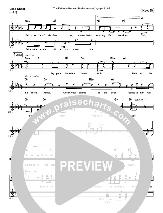 The Father's House (Choral) Piano/Vocal (SATB) (PraiseCharts Choral / Cory Asbury)