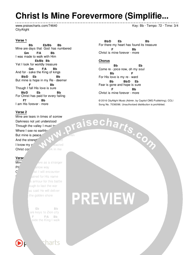 Christ Is Mine Forevermore (Simplified) Chord Chart (CityAlight)