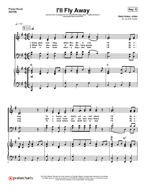 I'll Fly Away (Simplified) Piano/Vocal (SATB) (Traditional Hymn)