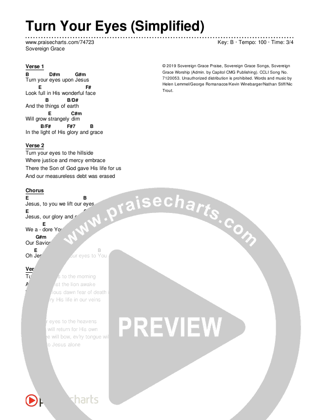 Turn Your Eyes (Simplified) Chord Chart (Sovereign Grace)