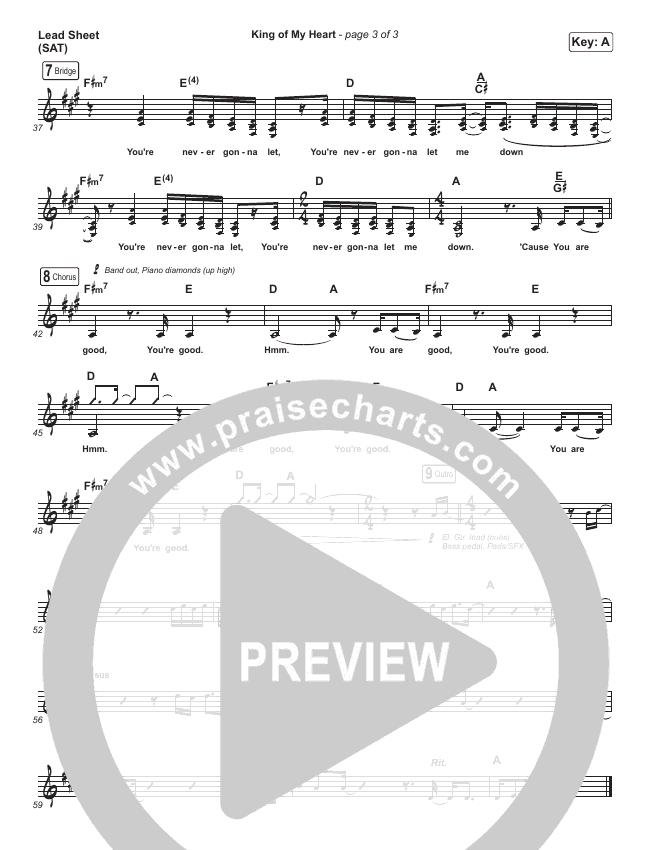King Of My Heart Lead Sheet (SAT) (Bethel Music / Amanda Lindsey Cook)