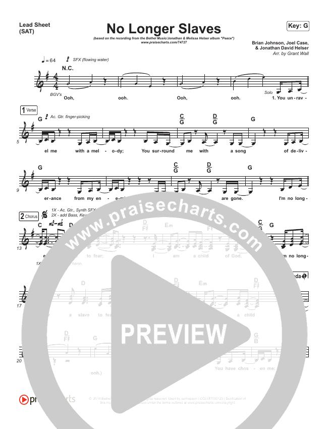 No Longer Slaves Lead Sheet (SAT) (Bethel Music / Jonathan David Helser / Melissa Helser)