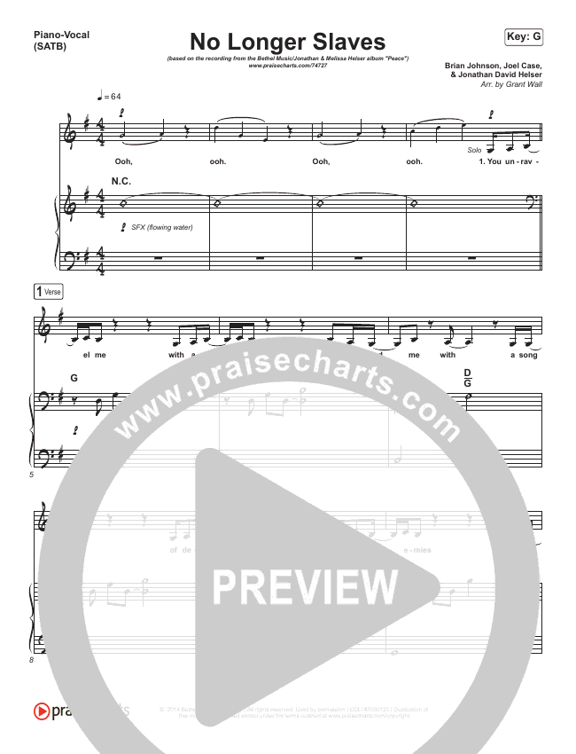 No Longer Slaves Piano/Vocal (SATB) (Bethel Music / Jonathan David Helser / Melissa Helser)