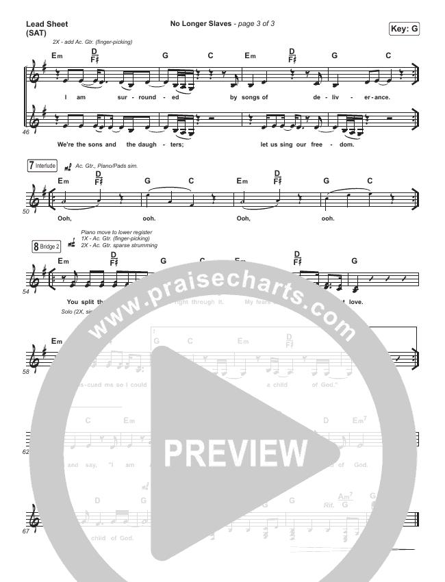 No Longer Slaves Piano/Vocal Pack (Bethel Music / Jonathan David Helser / Melissa Helser)