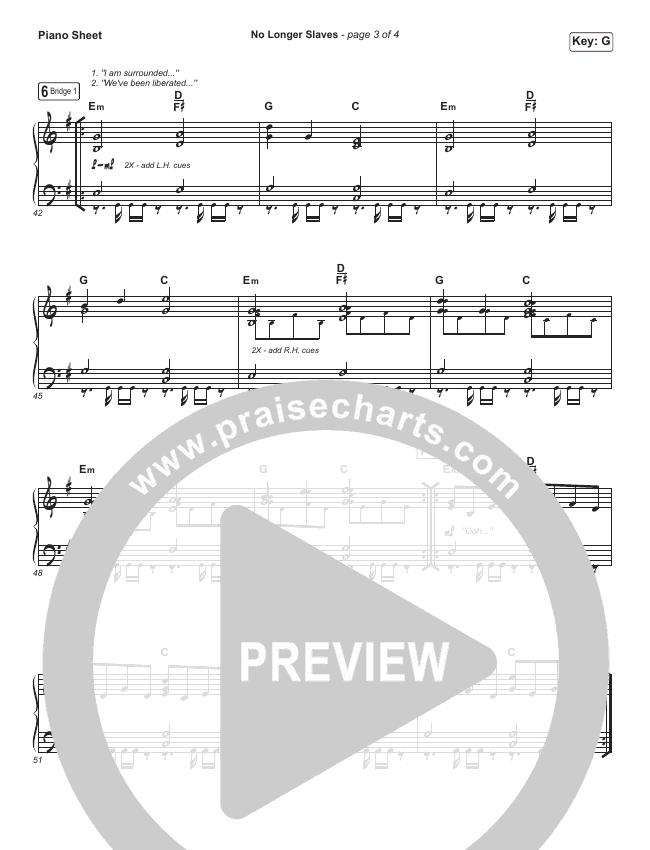 No Longer Slaves Piano Sheet (Bethel Music / Jonathan David Helser / Melissa Helser)
