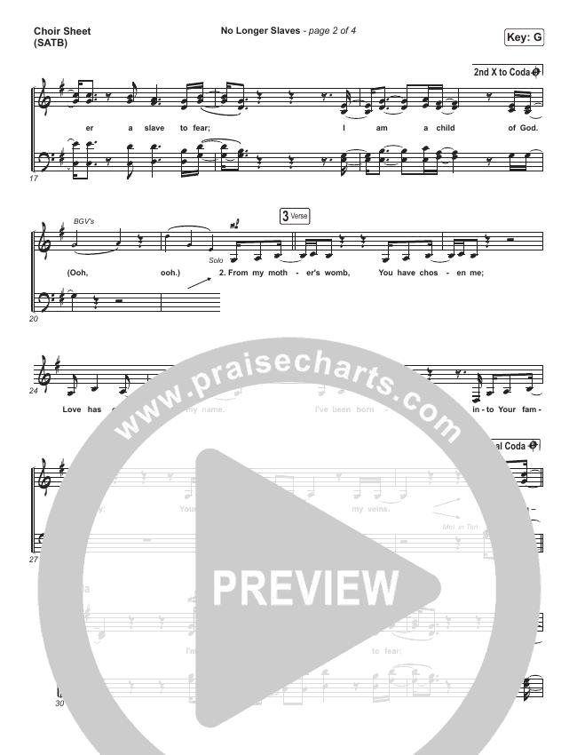 No Longer Slaves Choir Sheet (SATB) (Bethel Music / Jonathan David Helser / Melissa Helser)