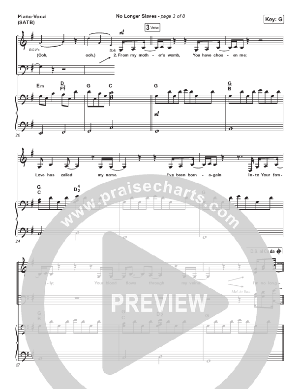 No Longer Slaves Piano/Vocal (SATB) (Bethel Music / Jonathan David Helser / Melissa Helser)