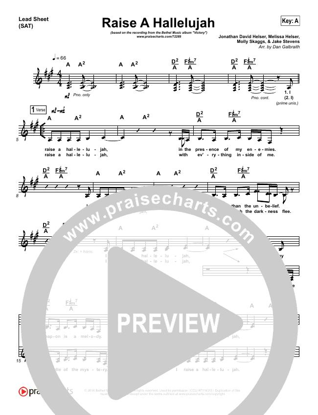Raise A Hallelujah Lead Sheet (SAT) (Bethel Music / Jonathan David Helser / Melissa Helser)