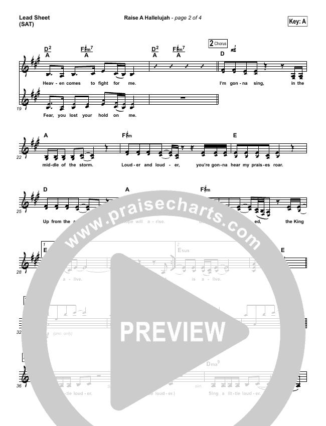 Raise A Hallelujah Lead & Piano/Vocal (Bethel Music / Jonathan David Helser / Melissa Helser)