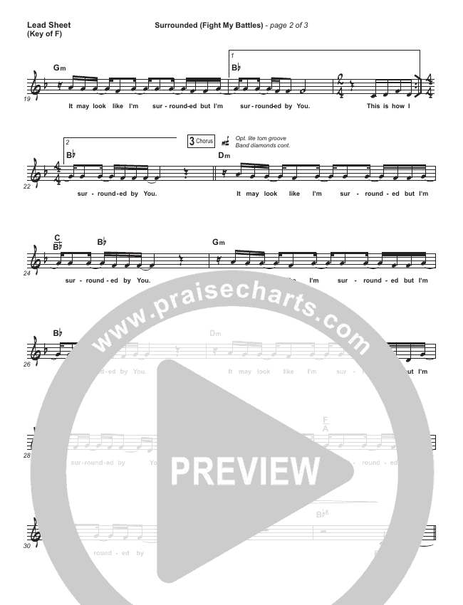 Surrounded (Fight My Battles) Lead Sheet (Melody) (Bethel Music / Kari Jobe)