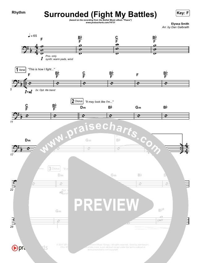 Surrounded (Fight My Battles) Rhythm Chart (Bethel Music / Kari Jobe)
