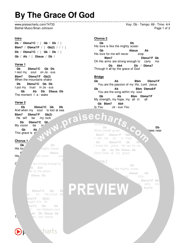 By The Grace Of God Chords & Lyrics (Bethel Music / Brian Johnson)
