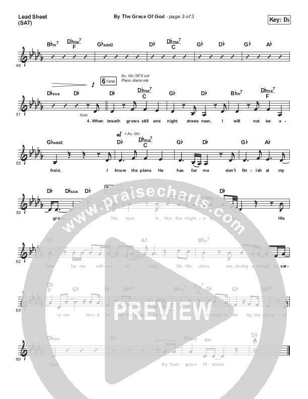By The Grace Of God Lead Sheet (SAT) (Bethel Music / Brian Johnson)