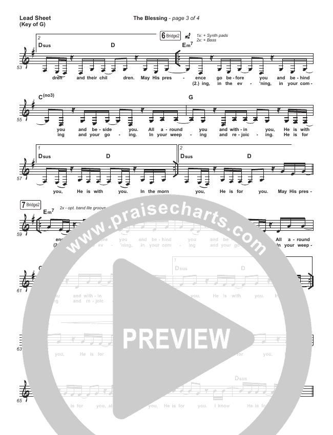 The Blessing Lead Sheet (Melody) (Bethel Music / We The Kingdom)