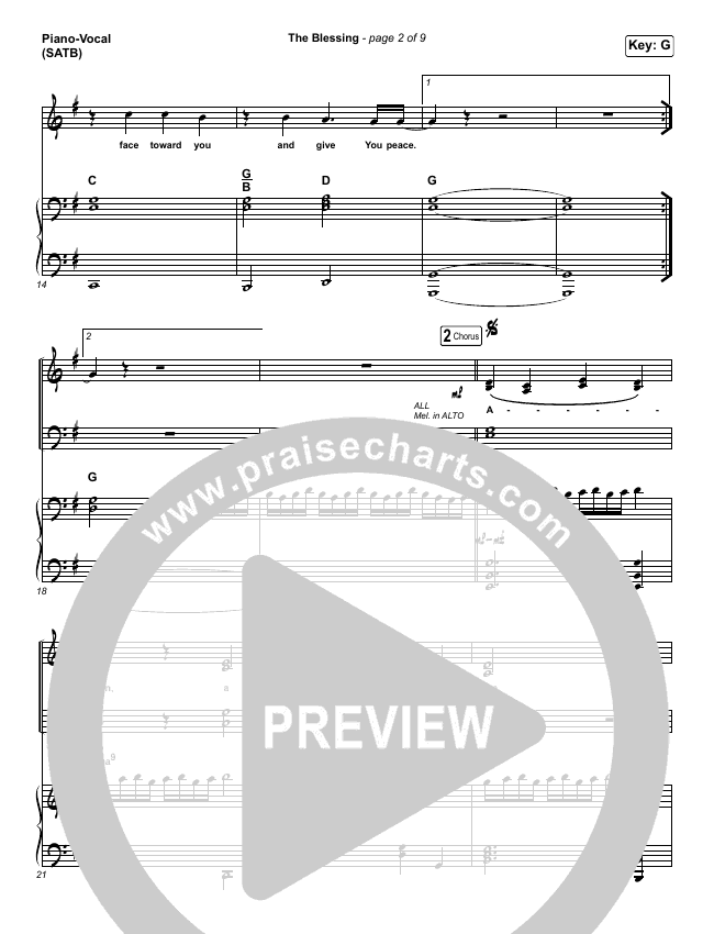 The Blessing Piano/Vocal (SATB) (Bethel Music / We The Kingdom)