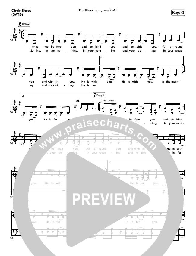 The Blessing Choir Sheet (SATB) (Bethel Music / We The Kingdom)