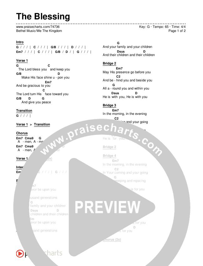 The Blessing Chords & Lyrics (Bethel Music / We The Kingdom)