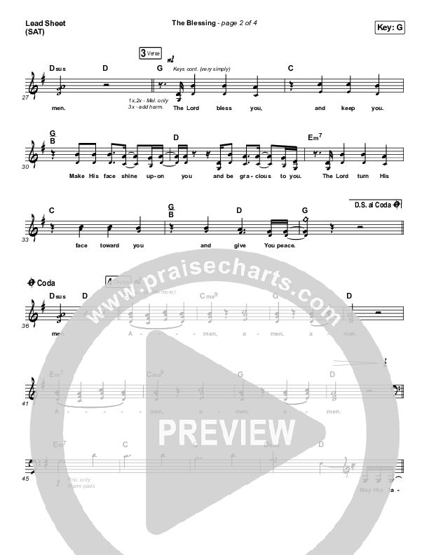 The Blessing Lead Sheet (SAT) (Bethel Music / We The Kingdom)