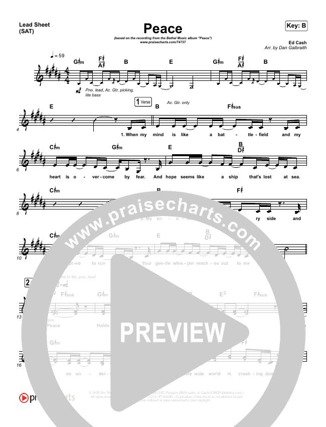 Peace Lead Sheet (SAT) (Bethel Music / We The Kingdom)