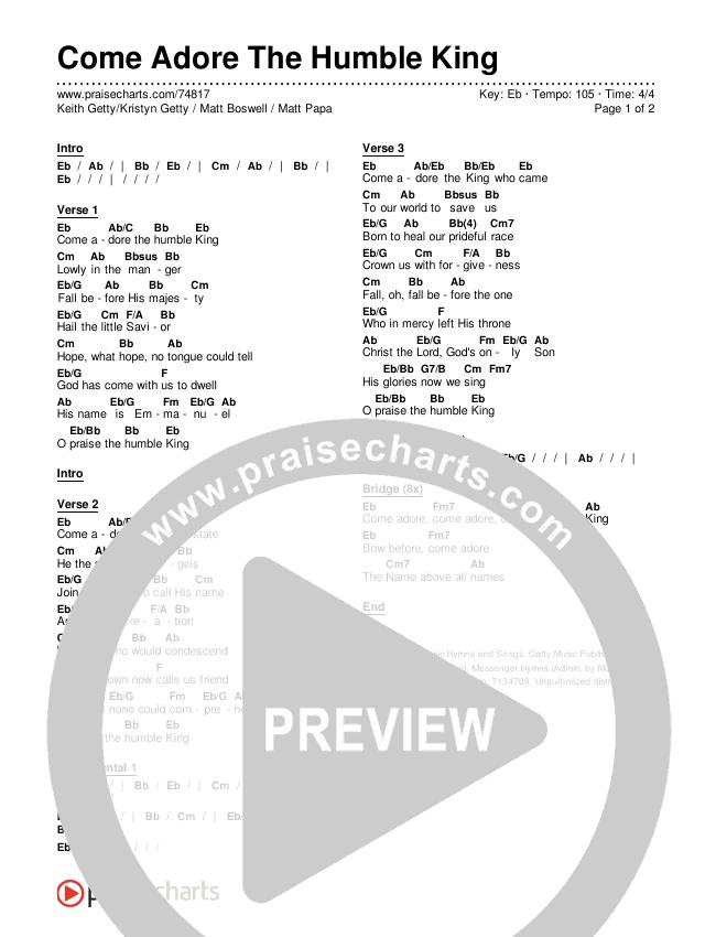 Come Adore The Humble King Chords & Lyrics (Keith & Kristyn Getty / Matt Boswell / Matt Papa)