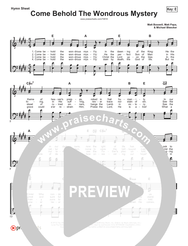 Come Behold The Wondrous Mystery Hymn Sheet (Keith & Kristyn Getty / Matt Boswell / Matt Papa)