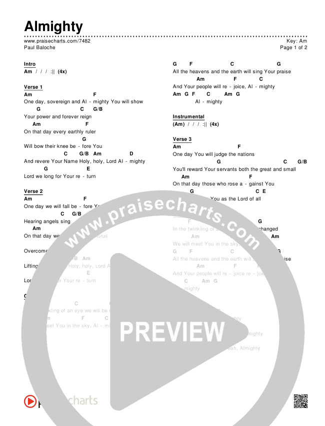Almighty Chords & Lyrics (Paul Baloche)