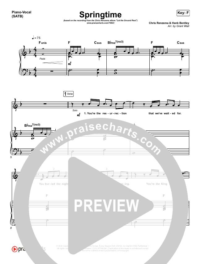 Springtime Piano/Vocal (SATB) (Chris Renzema)