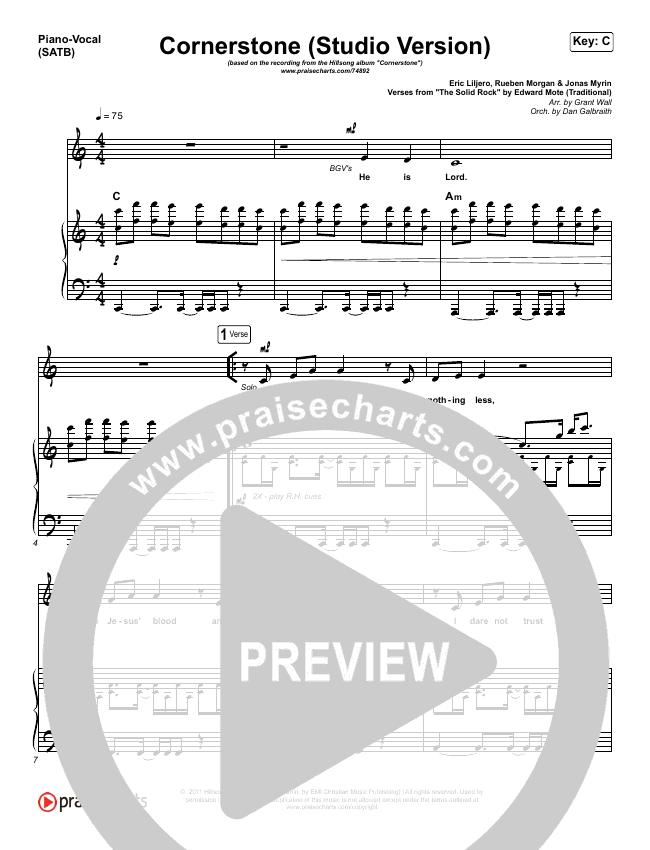 Cornerstone (Studio) Piano/Vocal (SATB) (Hillsong Worship)