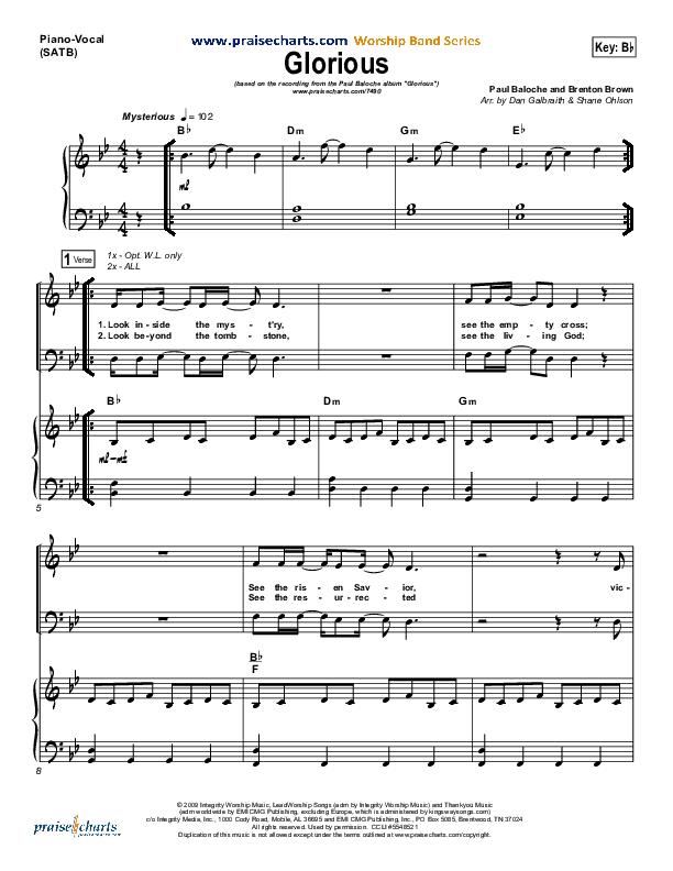 Glorious Piano/Vocal (SATB) (Paul Baloche)