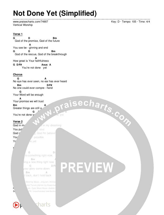 Not Done Yet (Simplified) Chord Chart (Vertical Worship)