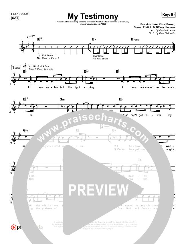 My Testimony (Choral) Piano/Vocal (SATB) (PraiseCharts Choral / Elevation Worship)