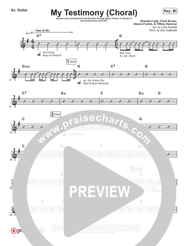 My Testimony (Choral) Rhythm Chart (PraiseCharts Choral / Elevation Worship)