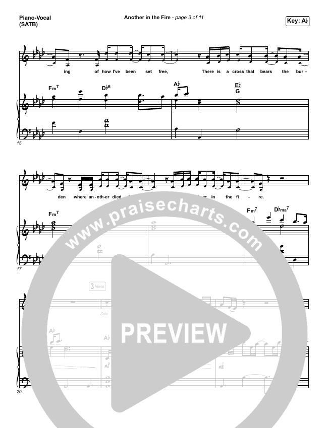 Another In The Fire Piano/Vocal (SATB) (Hillsong UNITED / TAYA)