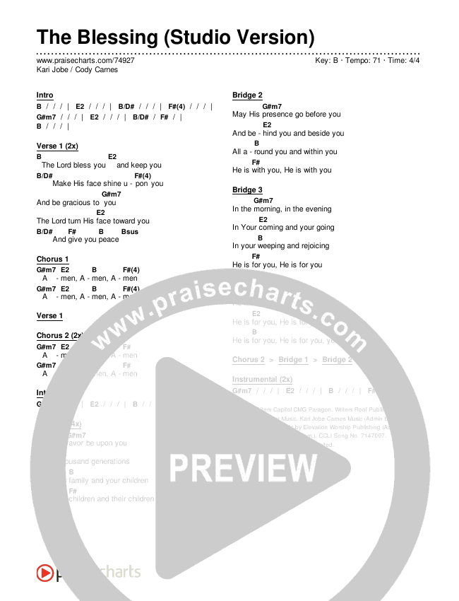 The Blessing (Studio) Chords & Lyrics (Kari Jobe / Cody Carnes)