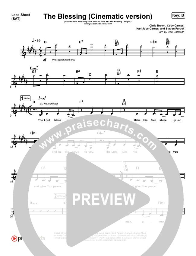 The Blessing (Cinematic) Lead & Piano/Vocal (Kari Jobe / Cody Carnes)