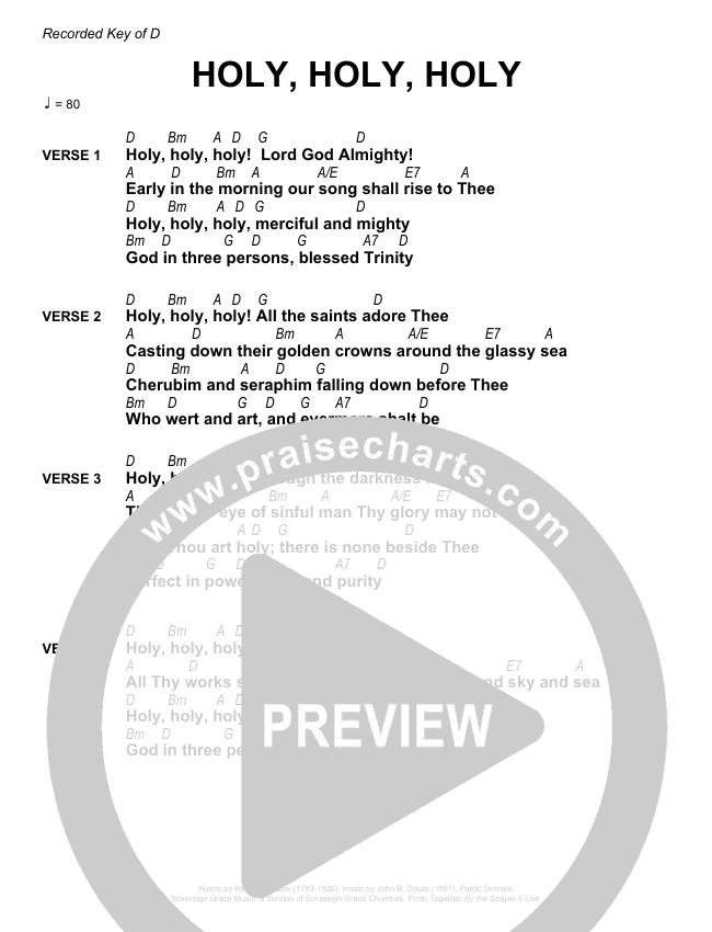 Holy Holy Holy Chords & Lyrics (Sovereign Grace / Bob Kauflin)