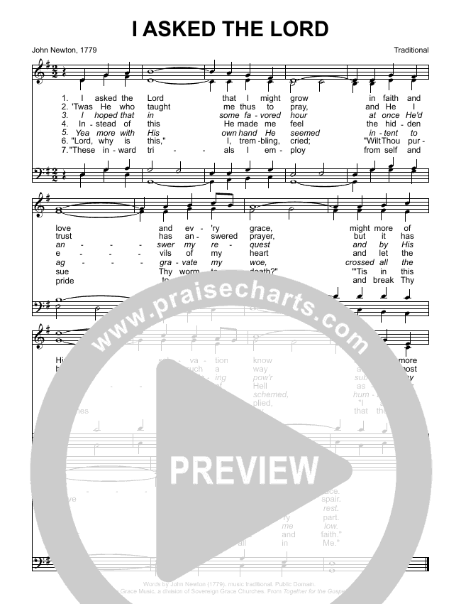 I Asked The Lord Choir Sheet (SATB) (Sovereign Grace / Bob Kauflin)