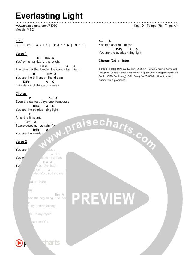 Everlasting Light Chords & Lyrics (Mosaic MSC)