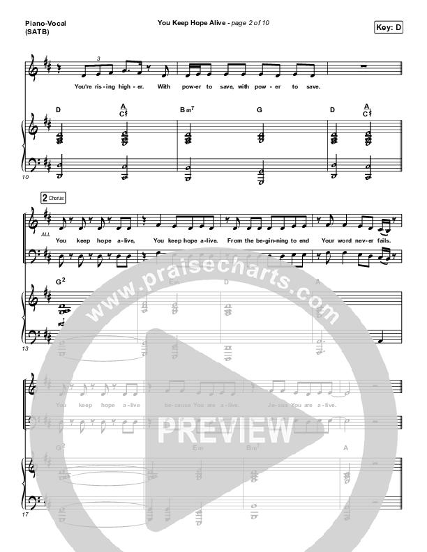 You Keep Hope Alive Piano/Vocal (SATB) (Mandisa / Jon Reddick)