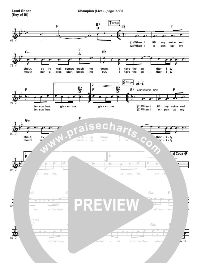 Champion (Live) Lead Sheet (Melody) (Bethel Music / Dante Bowe)