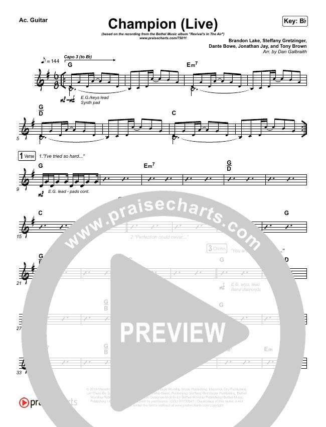 Champion (Live) Rhythm Chart (Bethel Music / Dante Bowe)