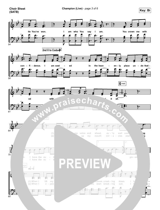 Champion (Live) Choir Sheet (SATB) (Bethel Music / Dante Bowe)