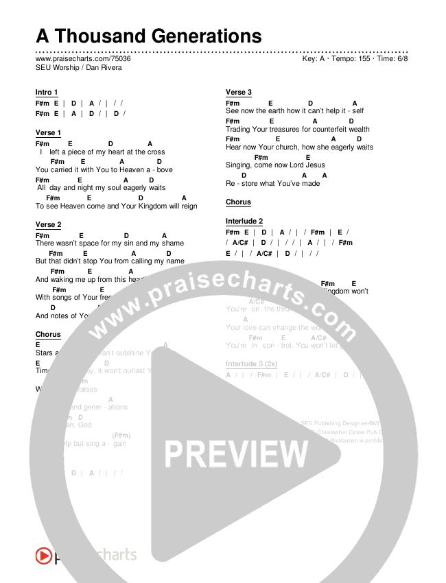 A Thousand Generations Chords & Lyrics (SEU Worship / Dan Rivera)